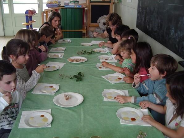 Une dégustation de greuilh proposée aux enfants lors de la foire aux fromages d'Etsaut en vallée d'Aspe.