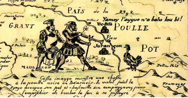 Extraits d'une carte ancienne (XVIIIème siècle) présentant avec humour les spécialités gastronomiques de terroirs Aquitains.