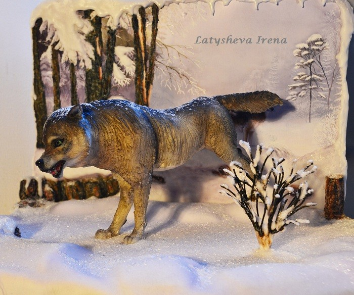 """Сахарная композиция """"Волк"""" (реалистичная лепка животных) Sugar art miniature sculpture"""