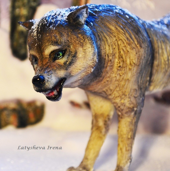 Волк (реалистичная лепка животных) Sugar art miniature sculpture