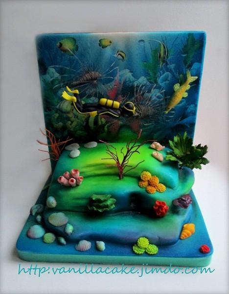 """Одна из сторон двустороннего торта - """"Дайверу"""", 4,5 кг"""