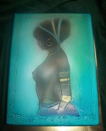 """Торт-коробка с бутылкой """"Африканские мотивы"""" (работа аэрографом)"""