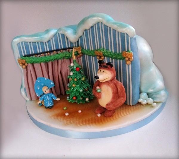 """Торт """"Маша и Медведь"""", 5,5 кг («Раз, два, три! Ёлочка, гори!»))))"""