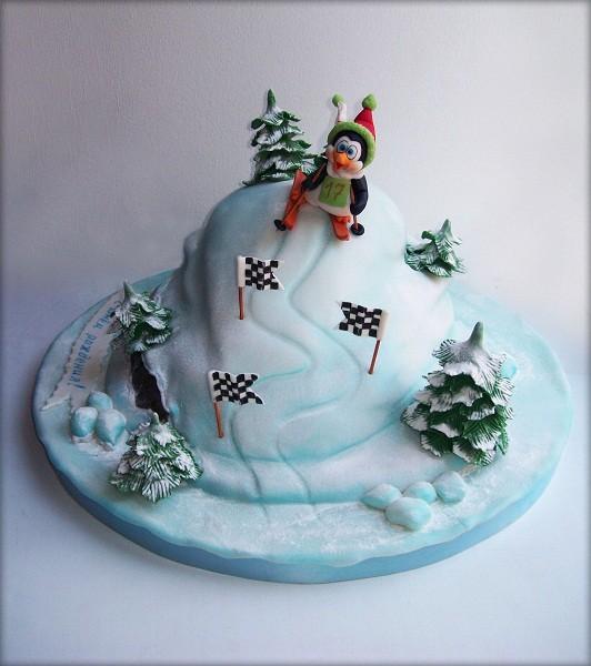 """Торт """"Пингвин-горнолыжник"""", 3,5 кг"""