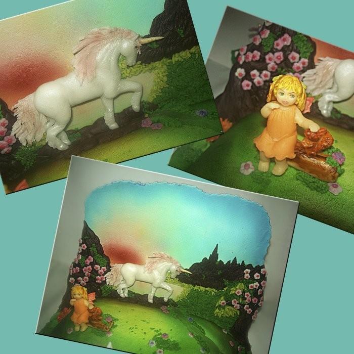 """Торт """"Легенды единорога"""" (сторона """"Рассвет"""": сахарная стенка в стиле барельеф и маленькая феечка)"""