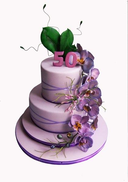 """Торт """"Юбилейный"""" (с сиреневыми орхидеями фаленопсис), 4,5 кг"""