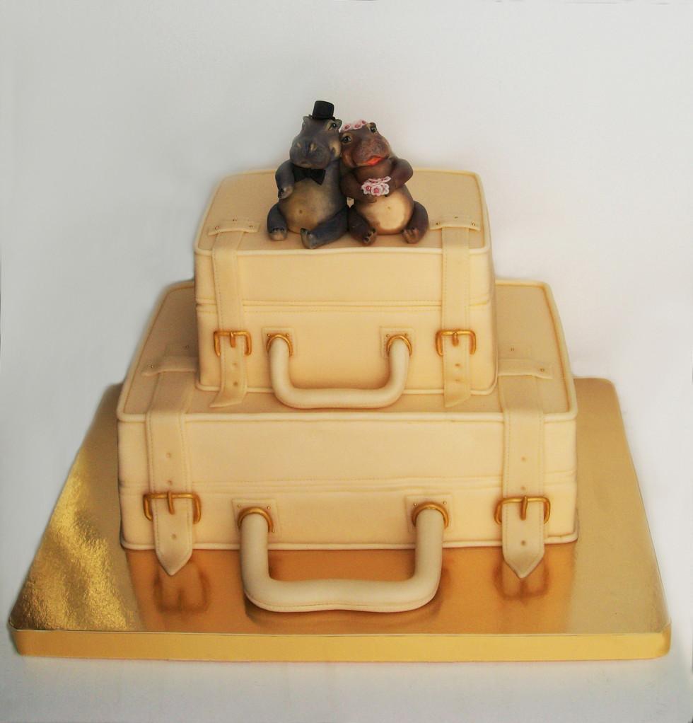 """Свадебный торт """"Бегемотики на чемоданах"""", 5,8 кг"""