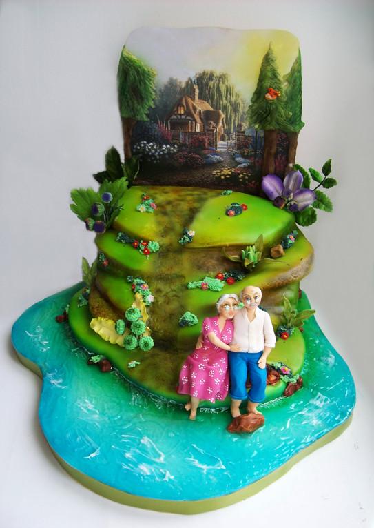 """Свадебный торт-перспектива """"Мы с тобой доживём до старости... и до Вечности доживём!"""", 3,8 кг"""