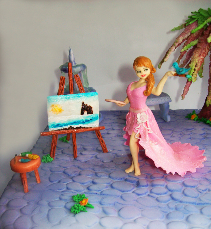 """Фрагмент торта """"Для юной художницы"""""""