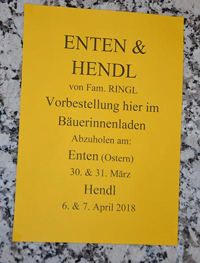 Enten und Hendl zum Vorbestellen im Bäuerinnenladen