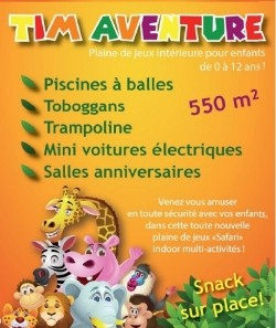 Tim Aventure Plaine de jeux intérieure de 550m2 pour enfants.  Piscines à balles, toboggans, trampoline, mini voitures électriques, goûters d'anniversaire.
