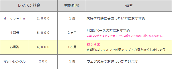 体験¥1,000、お月謝¥4,000