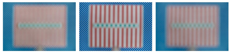 3 Positionen: weiße Punkte auf blau: 3m Hintergrund scharf, Schärfe unendlich