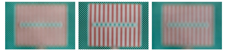 3 Positionen: weiße Punkte auf grün: 3m Hintergrund scharf, Schärfe unendlich