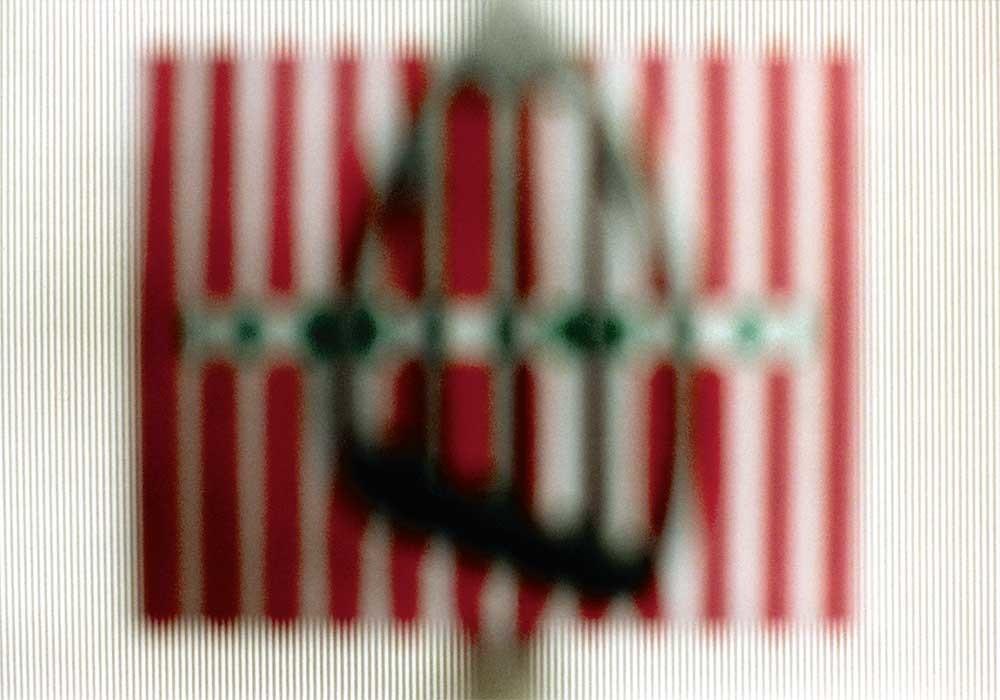 4 Positionen: Gegenstand vor der Blende, Schärfe auf Hintergrund
