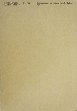 KILIAN BREIER. Erinnerung an Heinz Hajek-Halke, 1983. Briefumschlag mit unentwickelter Luminographie. 25 x 17,6 cm. Ed. 74/100
