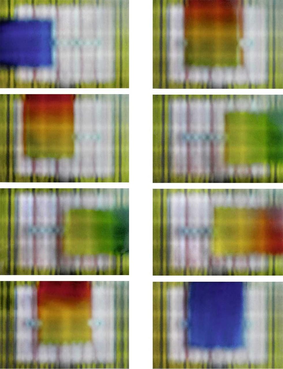 8 Positionen: vorgehangenes Streifengitter, eingeschobene Farbflächen, Schärfe unendlich