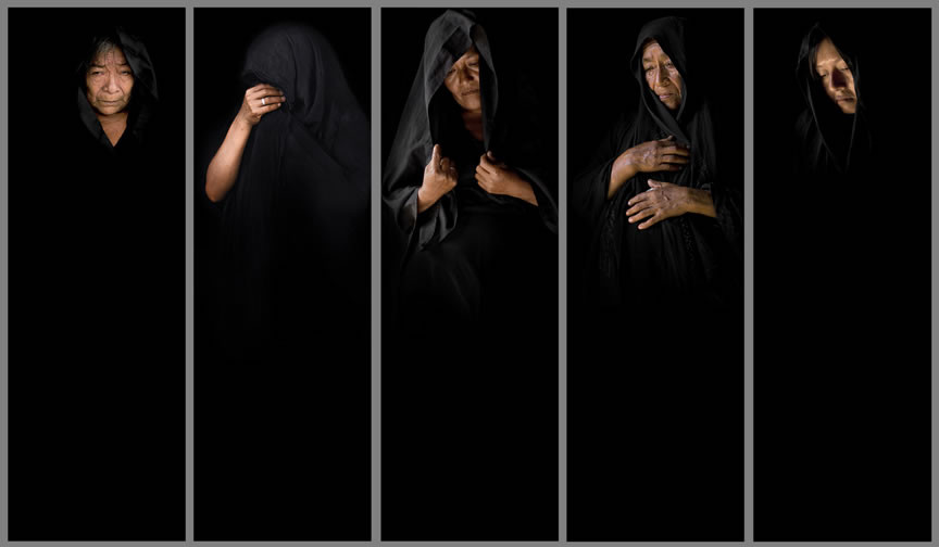 Series: Mantillas, 2012. from left to right: Santos Imán Cruz, Candelaria Valverde II, Claudina Adanaguesi, Carmen Valencia, Milagros Llovera