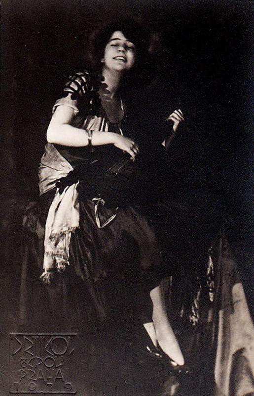 Frantisek Drtikol: Ervina Kupferova, 7 x 11 cm, 1919 - Vintage