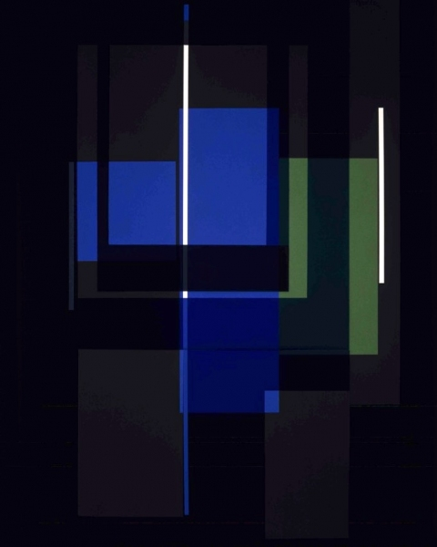 Blue Elements with Geometry, 2004. 127 x 101,6 cm