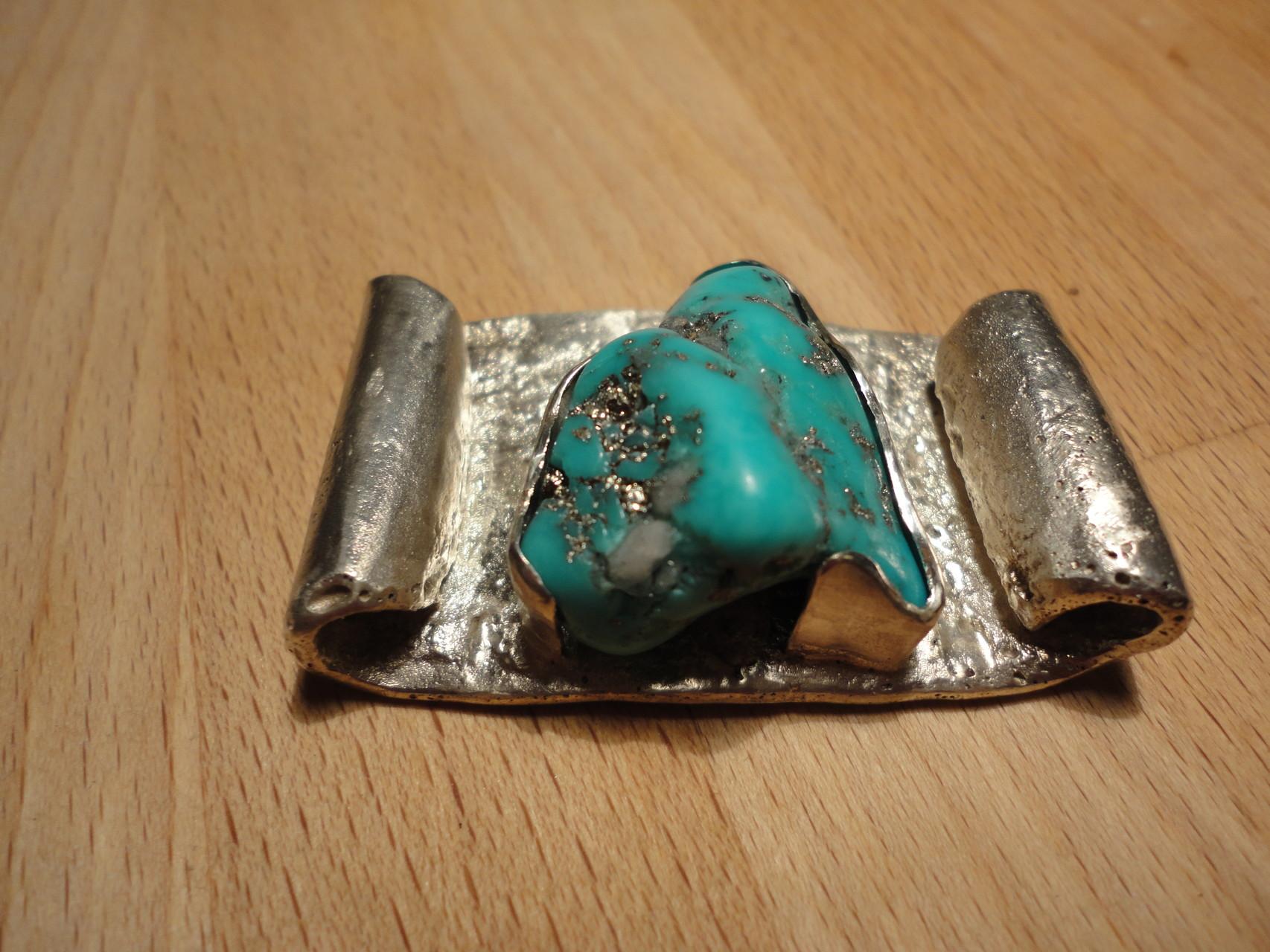 massiver Silberanhänger (60g) für Hals oder Handgelenk mit pyrit-versetztem Türkis (925 Sterlingsilber) Preis: CHF 390.-
