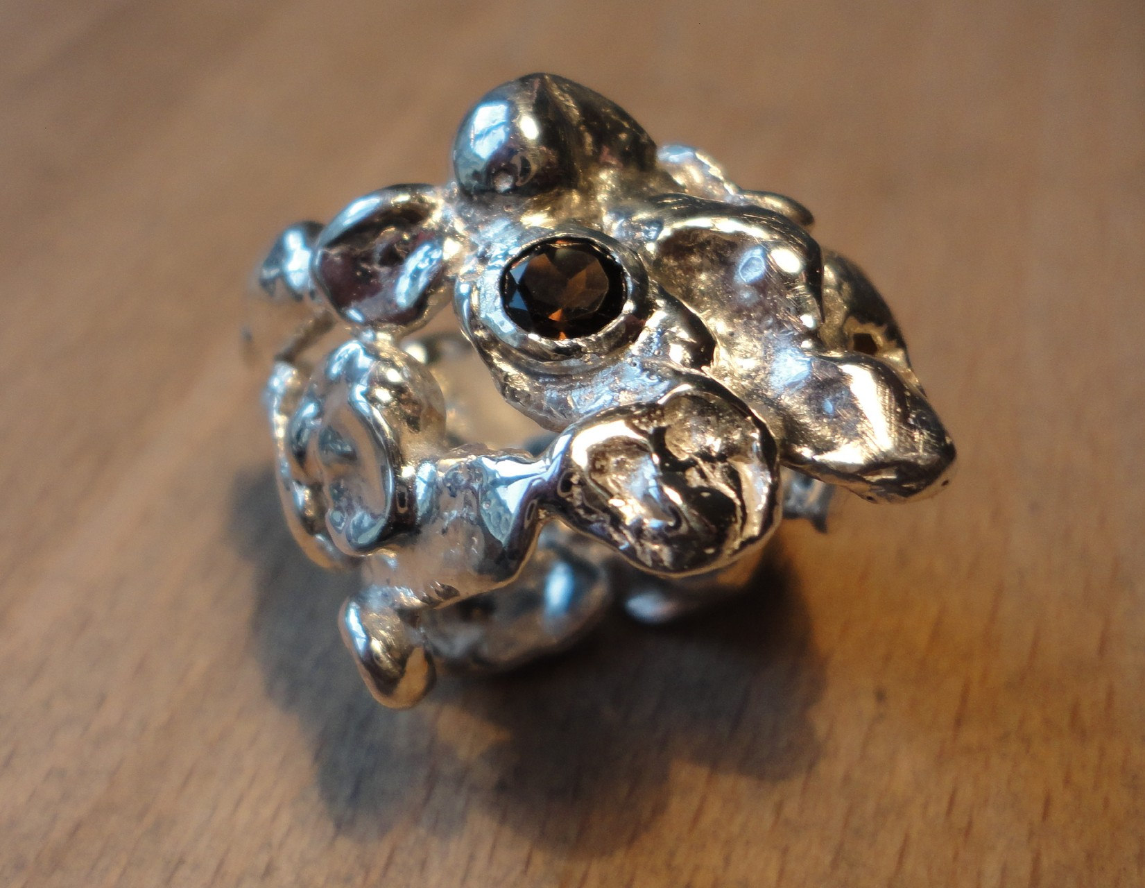 Silber-Nugget Ring mit Rauchquarz (925 Sterlingsilber) Preis: CHF 300.-