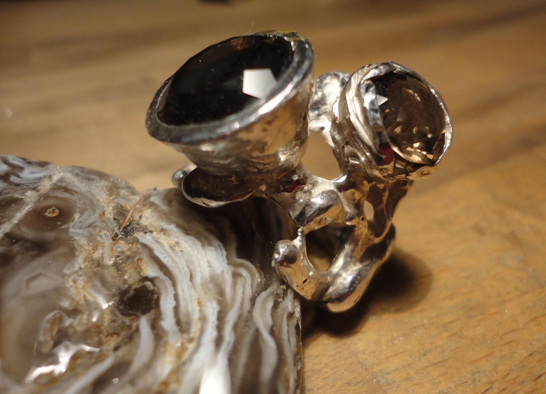 Silber-Nugget-Ring mit Rauchquarz-Blüten (925 Sterlingsilber) Preis: CHF 300.-