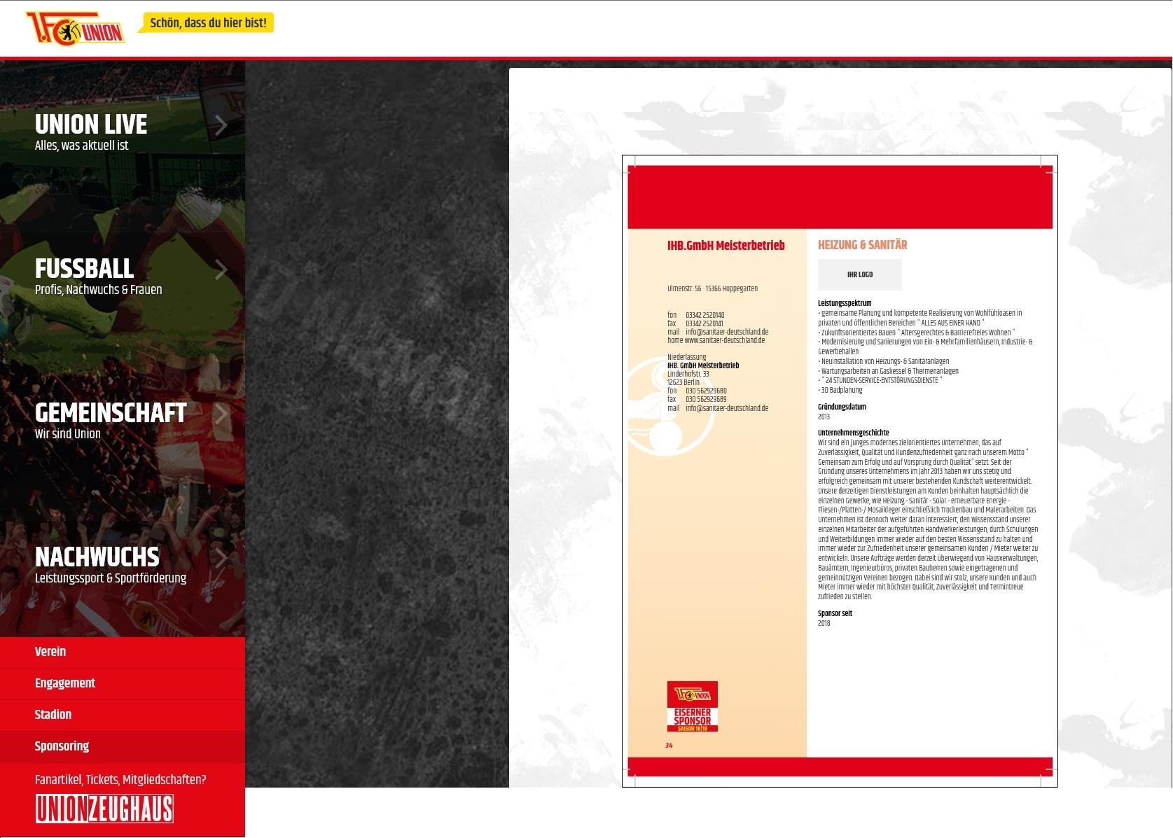 Brachenbucheintrag - 1. FC Eisern Union