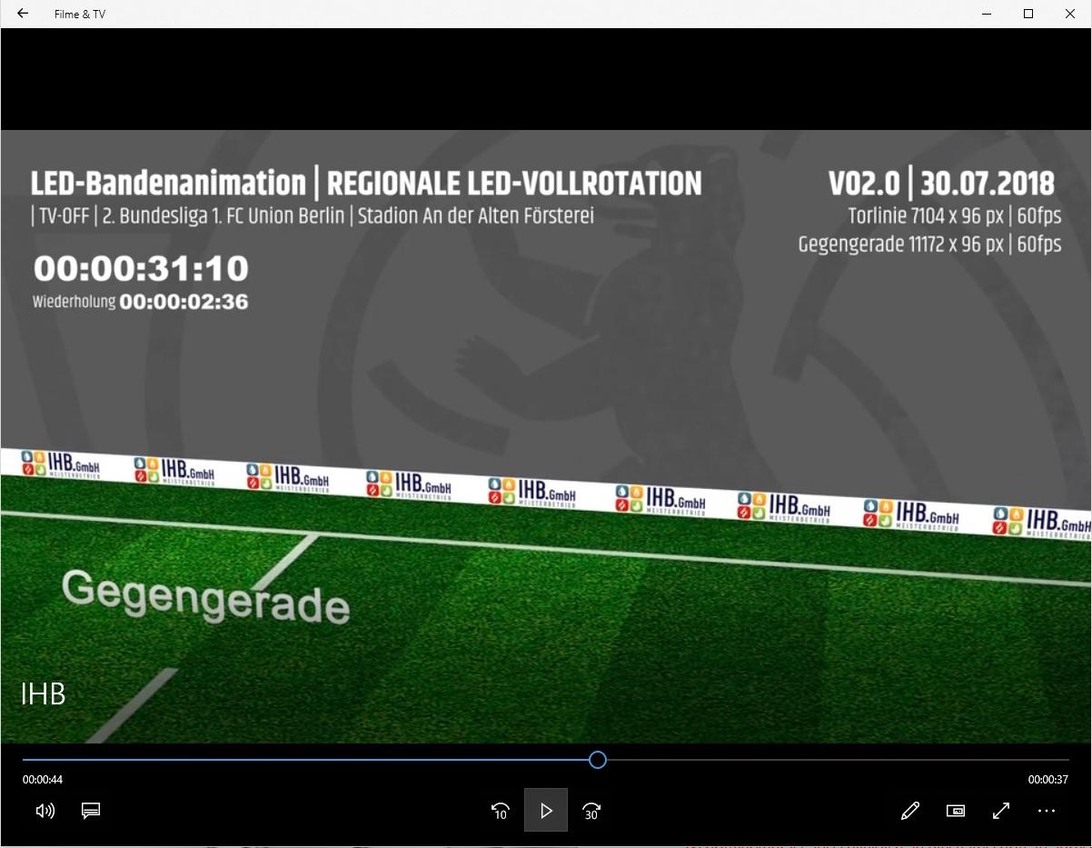 Sponsoring - Bandenanimation 1. FC Eisern Union