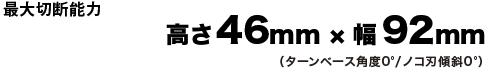 最大切断能力、高さ46mm×幅92mm