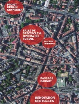 Projet de Centre Ville de PAU - Plan de situation des projets