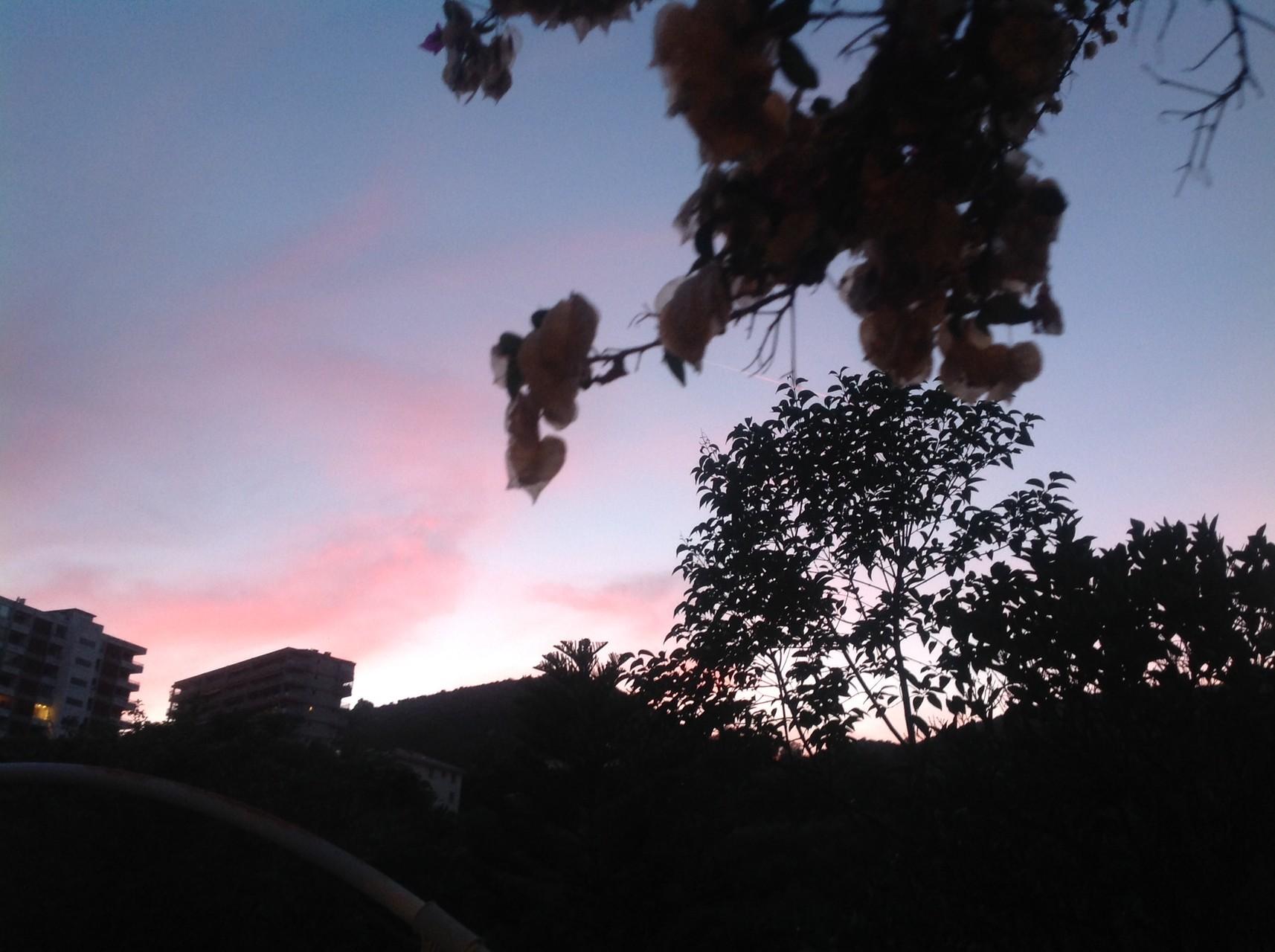 vue d'un coucher de soleil sur le mont Cagallo prise du jardin -La maison de Ninette -