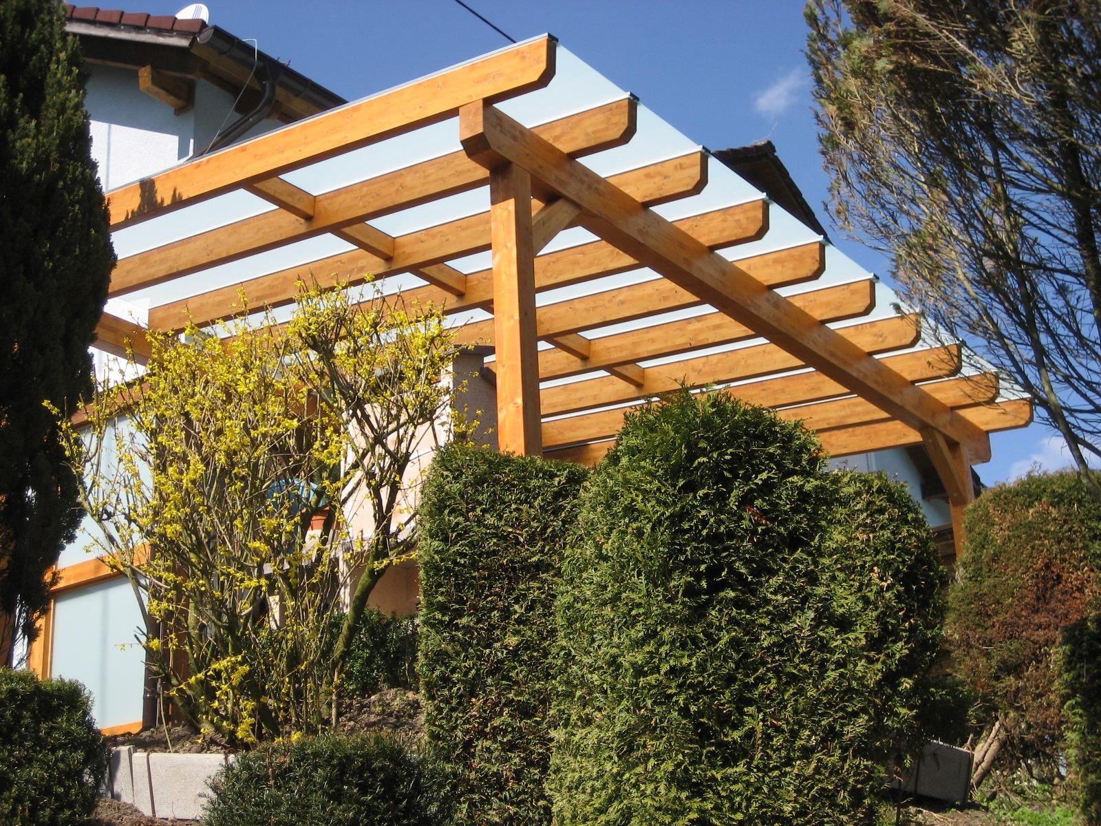 Terrassenüberdachung und Sichtschutzelement mit VSG Glas