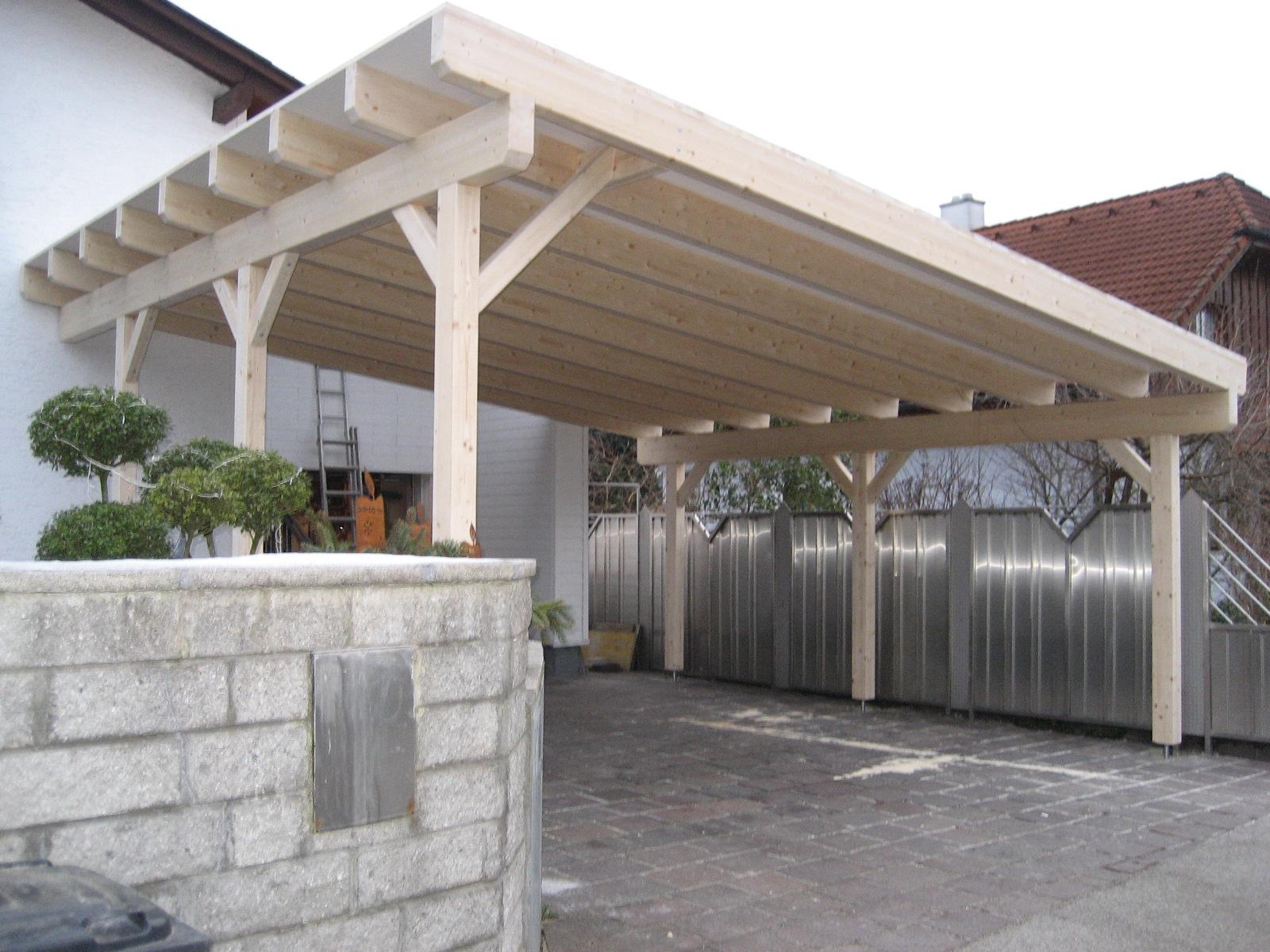 Carport in Pultdachausführung mit Dachschalung