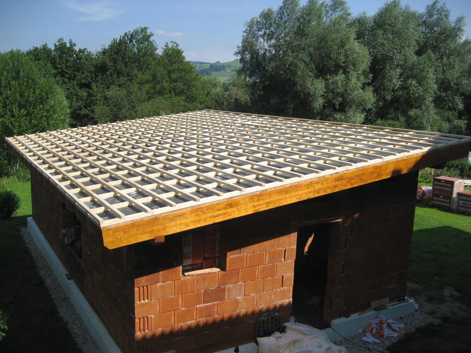 Dachstuhl Pultdach mit Einlattung für Blechdach
