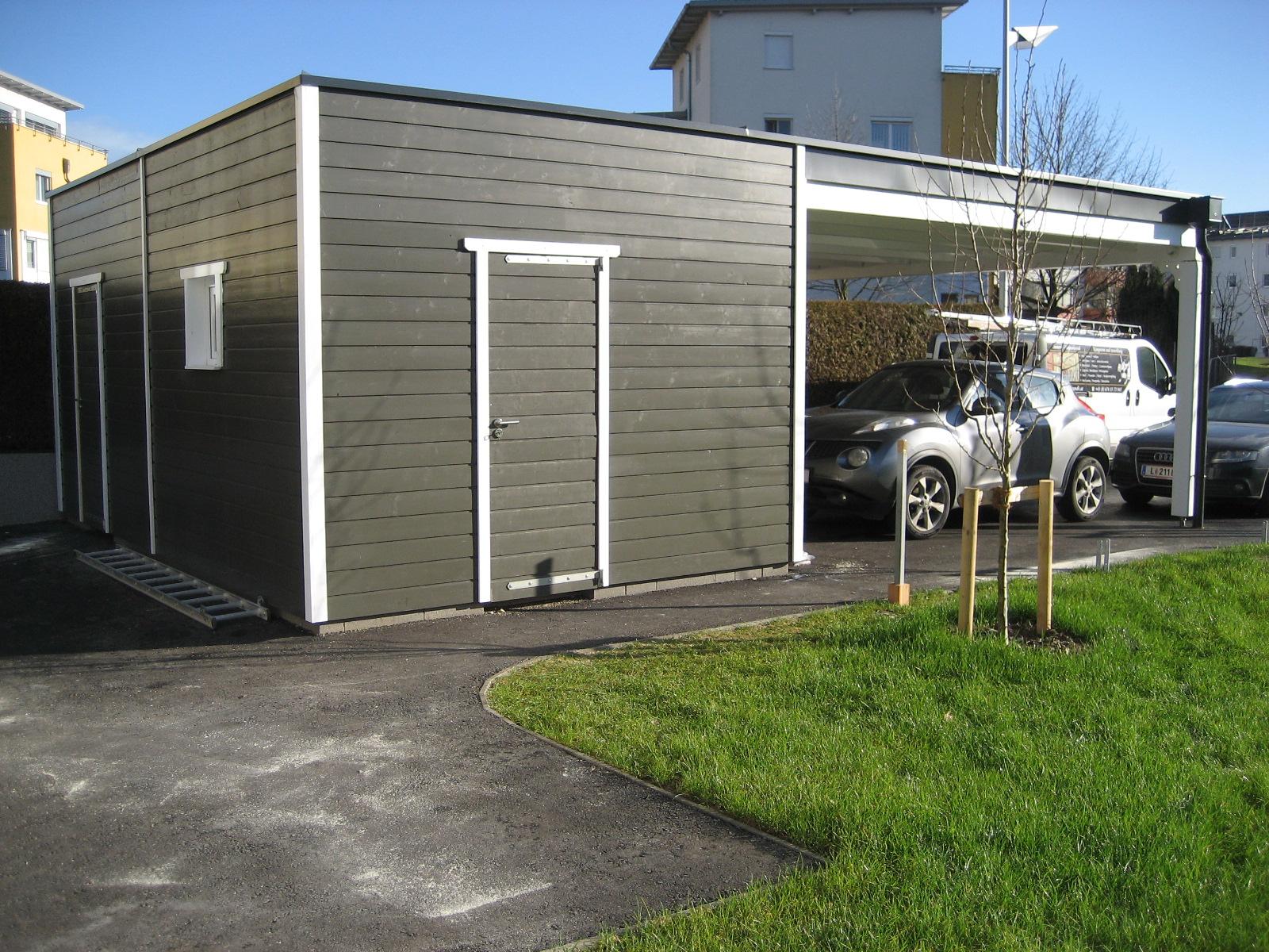 Carport Flachdach mit gedämmten Abstellraum & Werkstatt