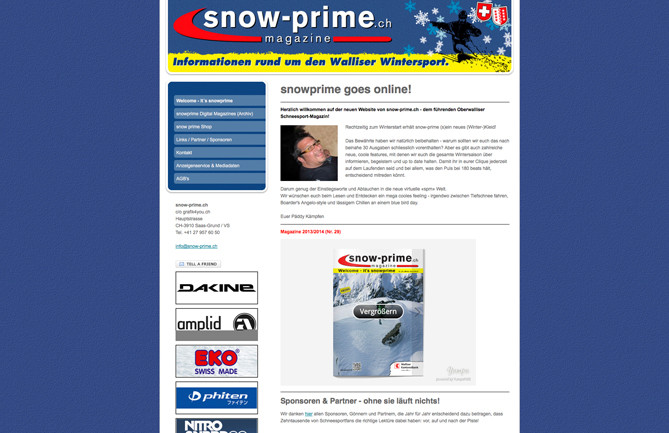 snow-prime; Wintersport Magazin, Wallis