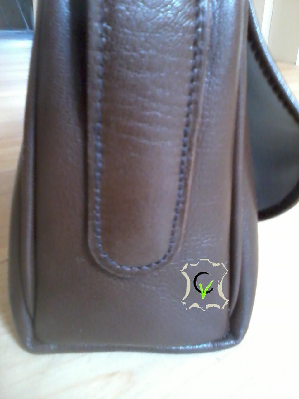 sac à main en cuir brun doublé mouton gris
