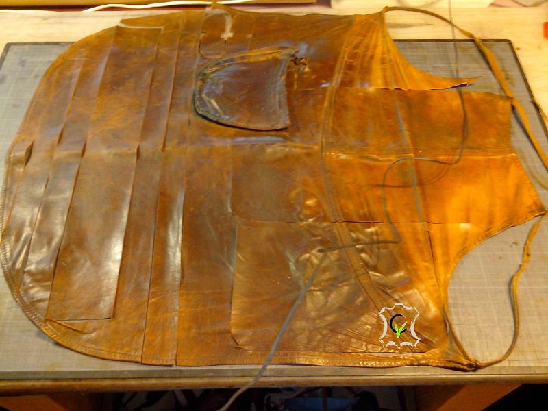 tablier en cuir à partir duquel à été fabriquer le sac à main