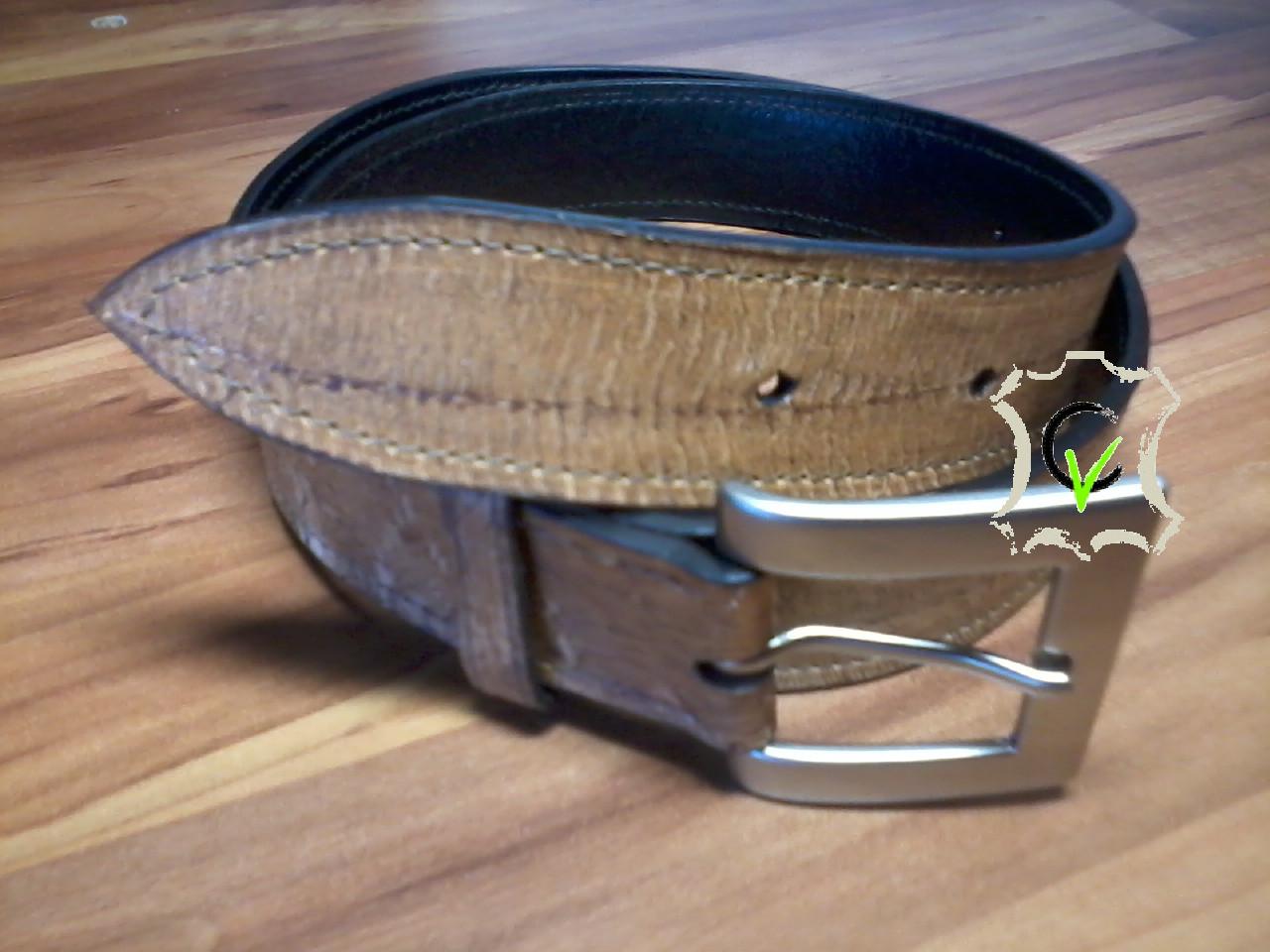ceinture en cuir de carpes de Dombes doublée cuir vachette, boucle carrée  bords larges argentée 30mm
