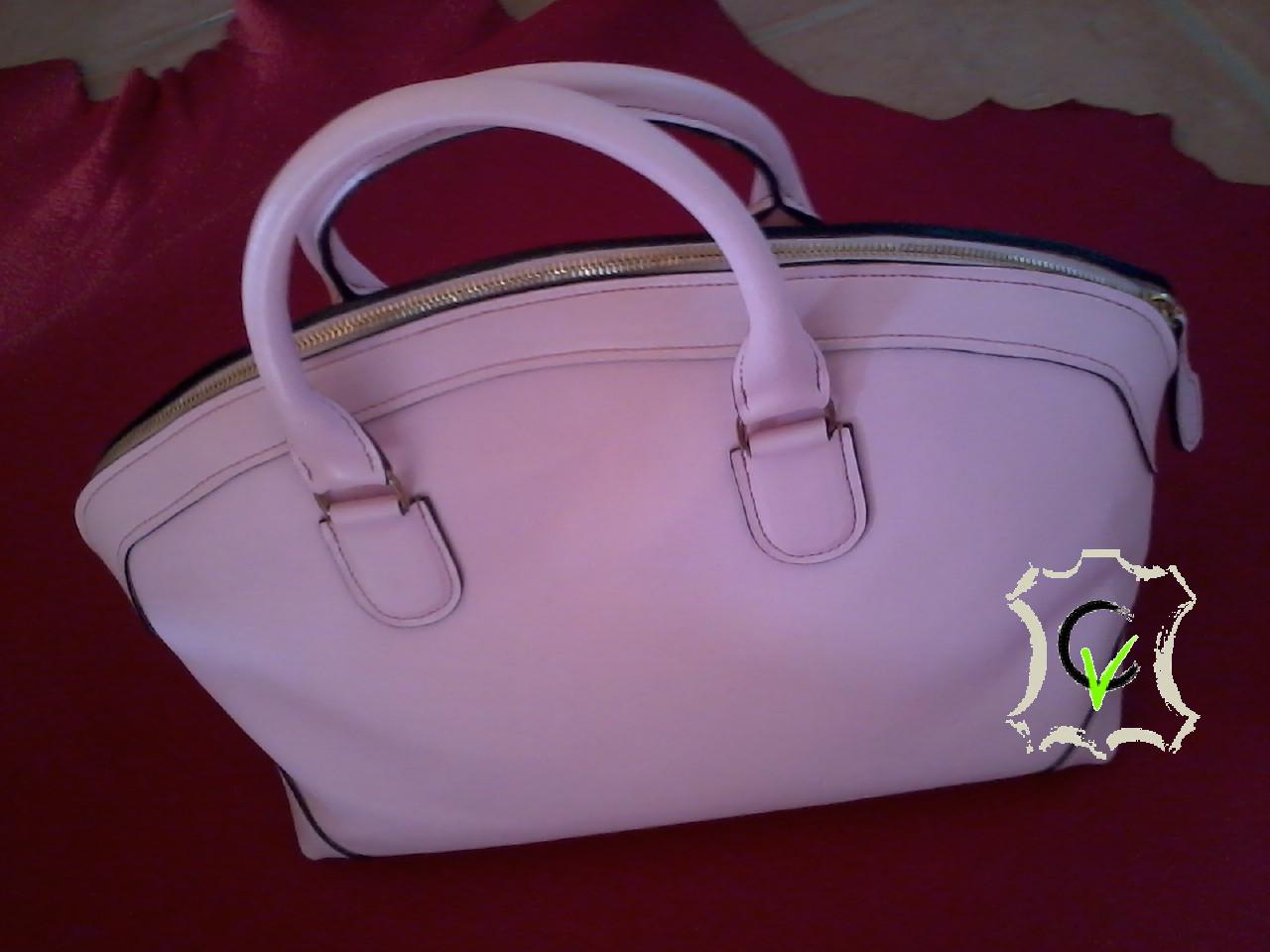 sac à main en cuir vachette rose, doublé cuir vachette beige