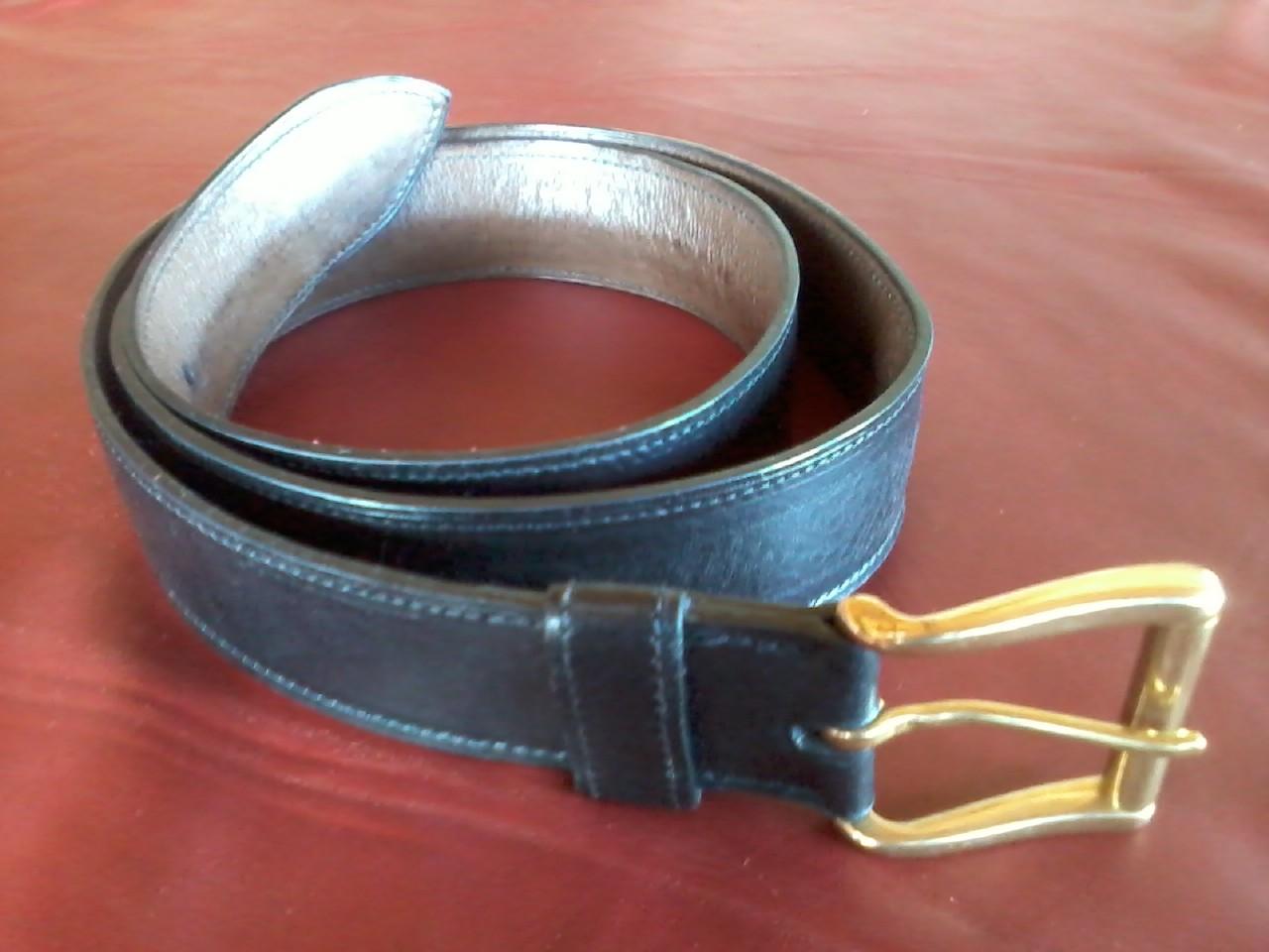 ceinture en cuir noir doublé cuir marron boucle carrée à rouleau en laiton 40 mm