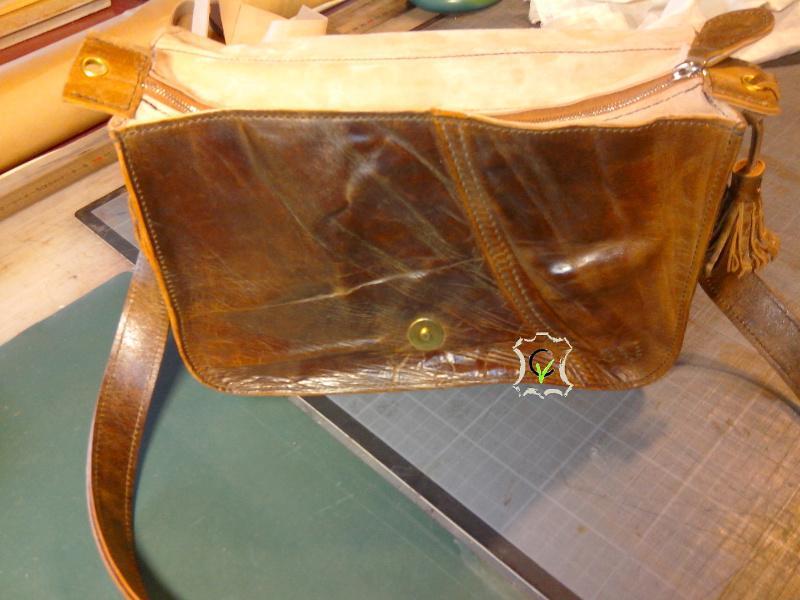 sac à main fait à partir d'un tablier en cuir, face