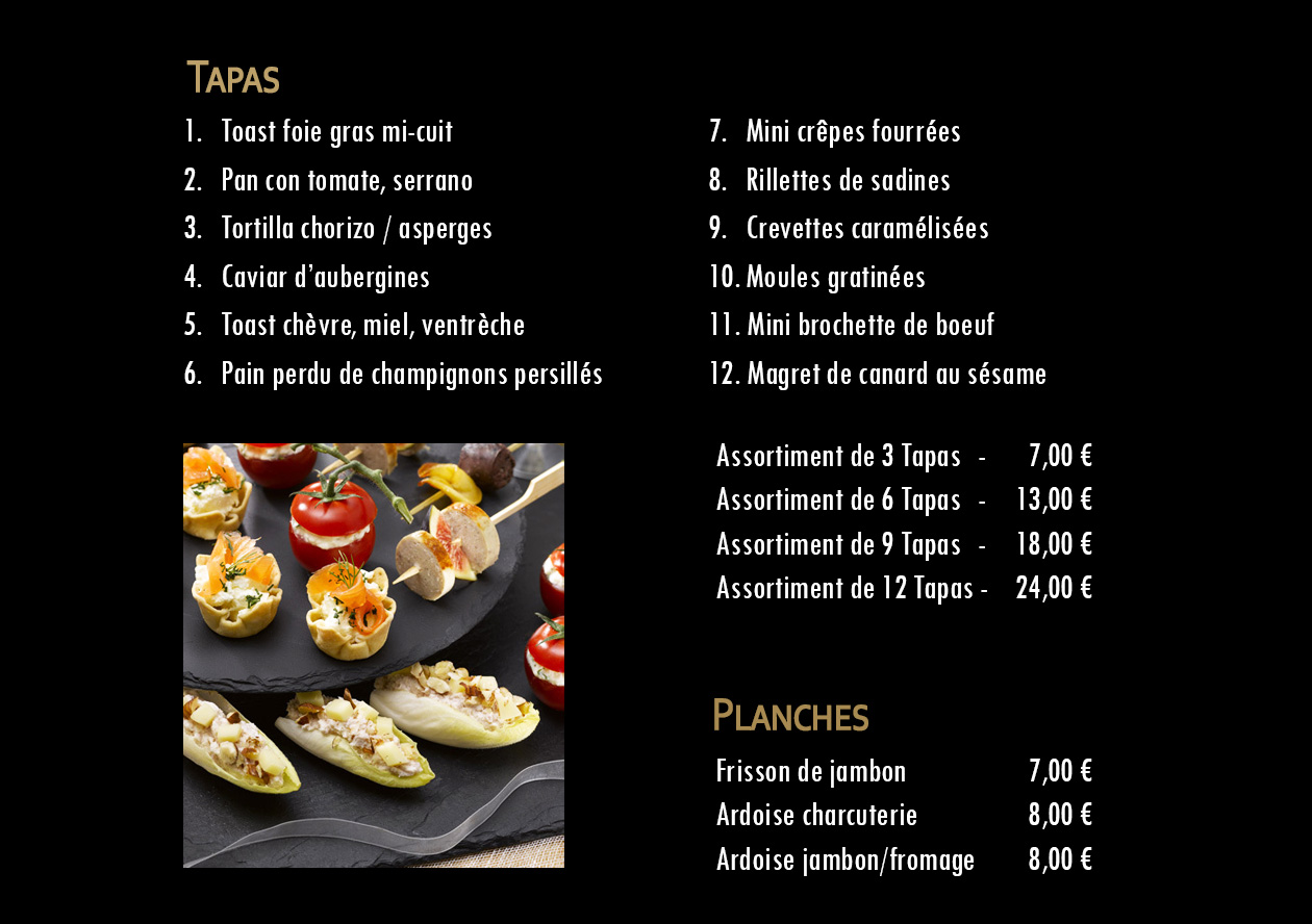 Carte Tapas Restaurant  Izard Cafe Saint Lary Soulan - Hiver 2019