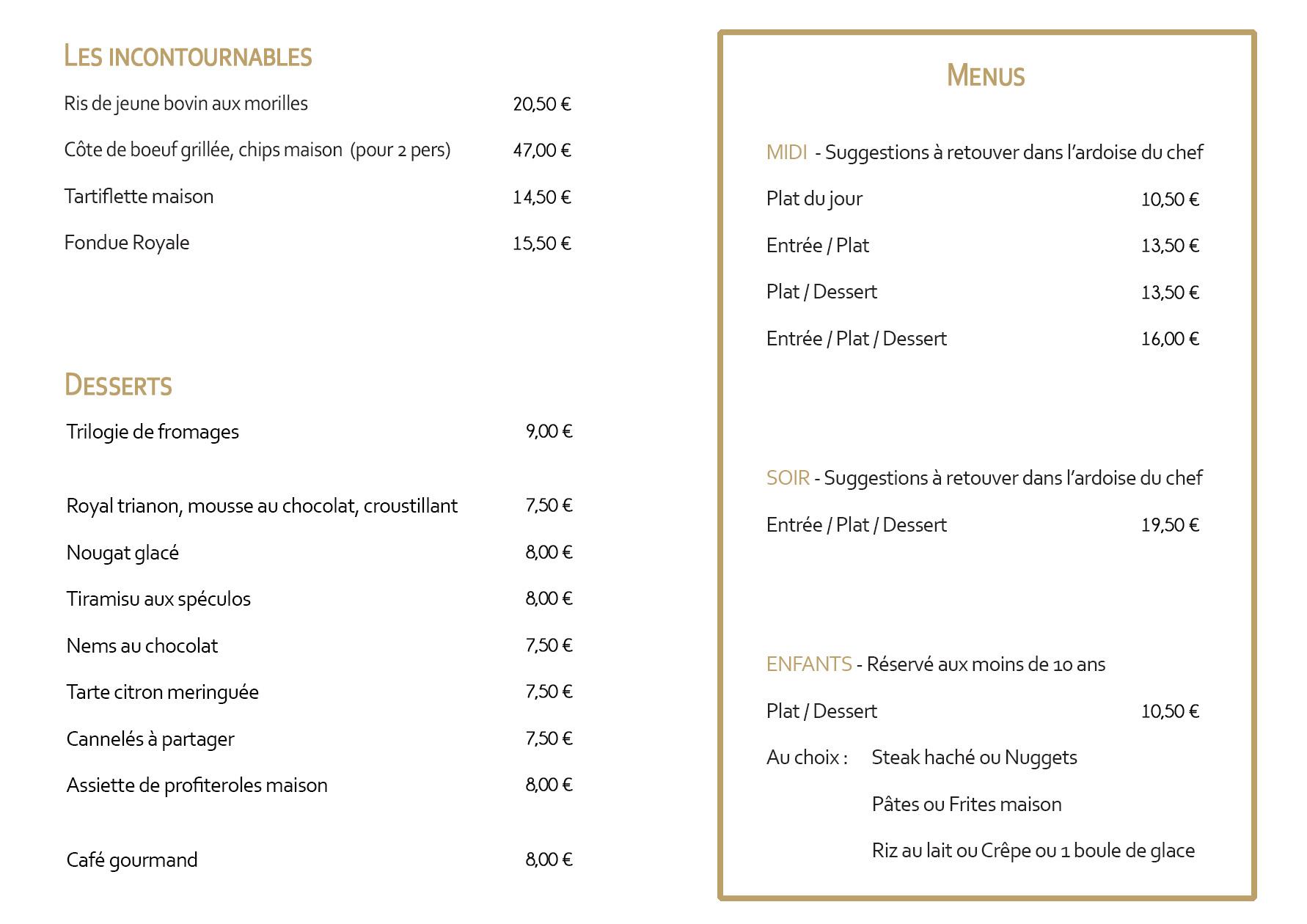 Carte Plats Restaurant  Izard Cafe Saint Lary Soulan - Hiver 2019
