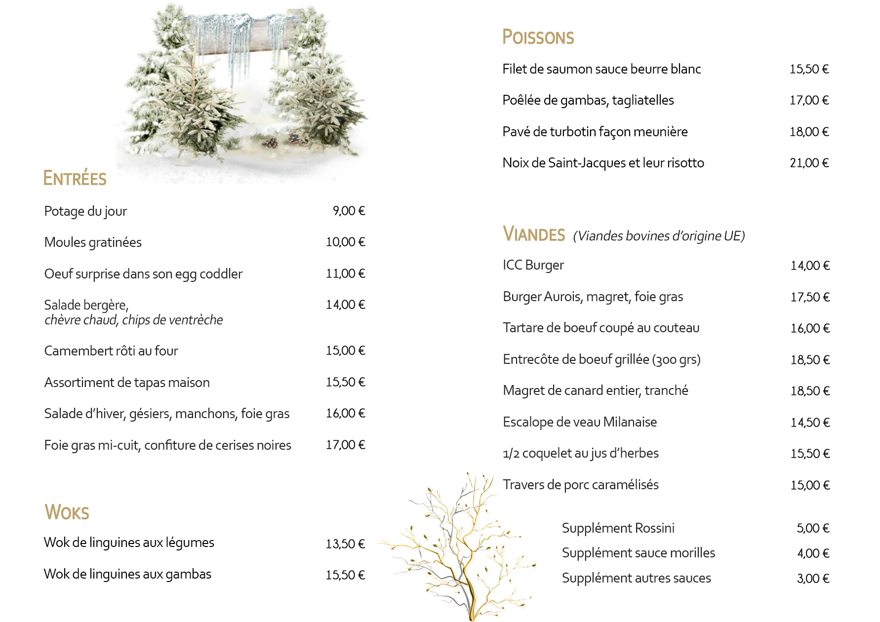 Carte Entrée Restaurant  Izard Cafe Saint Lary Soulan - Hiver 2019