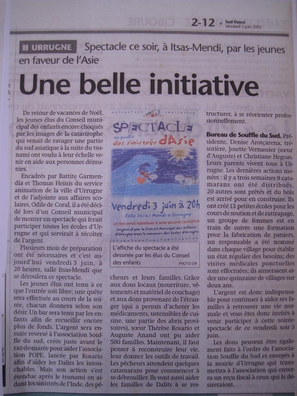 Juin 2005 - Le conseil municipal des enfants d'Urrugne veulent aider les plus démunis