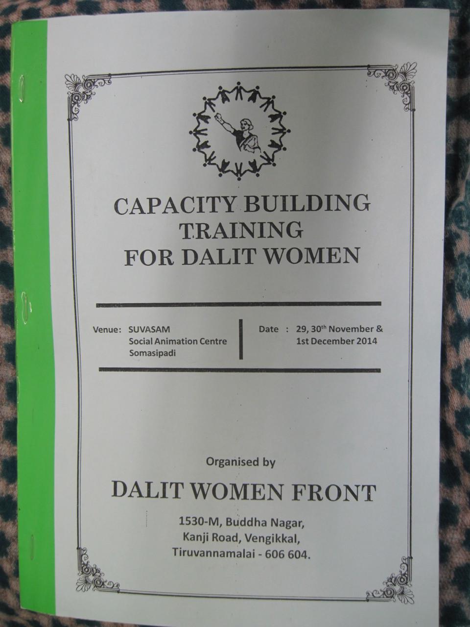 Novembre 2014 - Manuel : Formation pour le renforcement des capacités des femmes Dalits