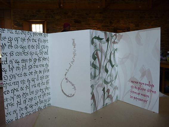 Calligraphie de Christine en écriture mérovingienne