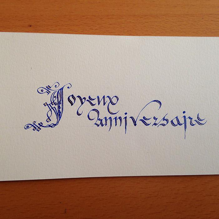 Martine associe lettre cadeau et Gothique cursive